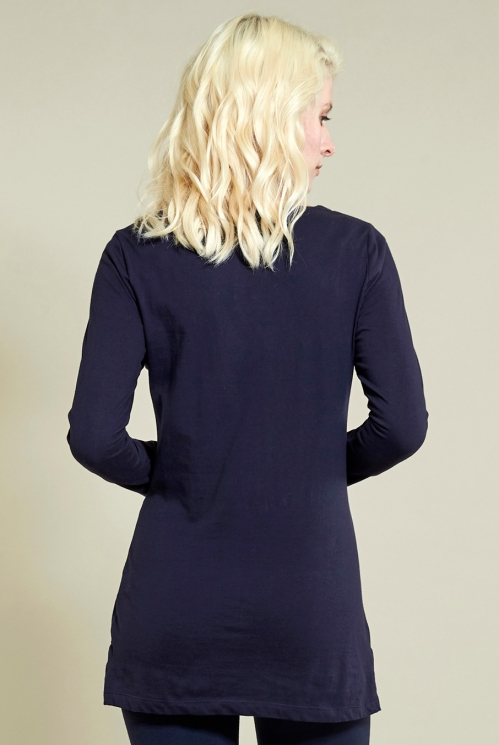 Long Layering Top in Navy - back view