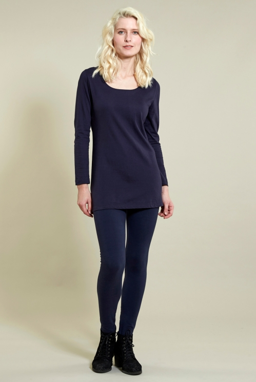 Long Layering Top in Organic Cotton Jersey xtra view of Navy
