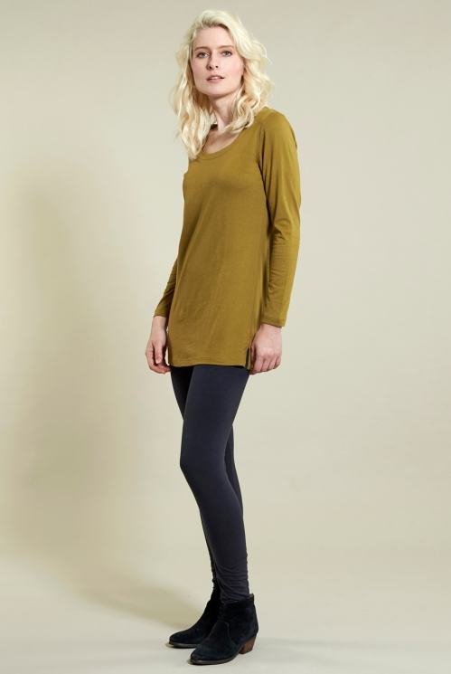 Long Layering Top in Organic Cotton Jersey xtra view of Ochre