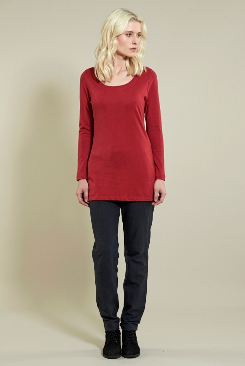 Long Layering Top in Rubine - back view