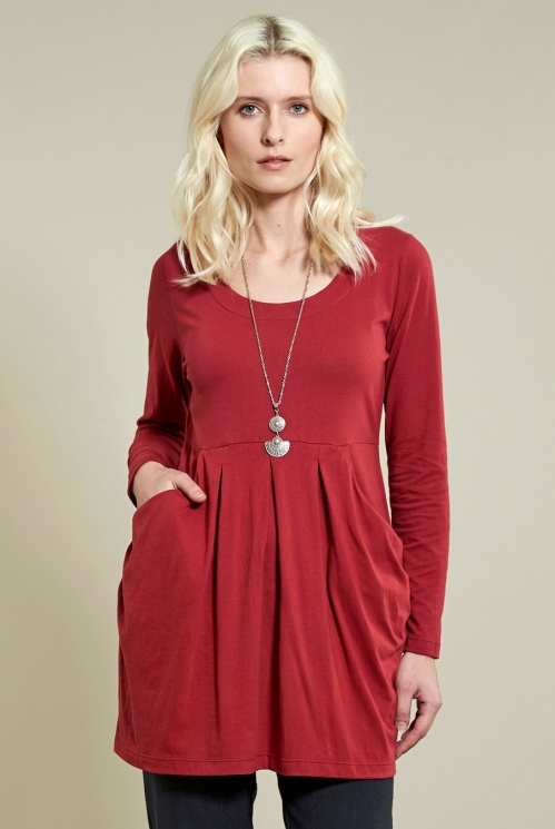 Rubine Slouch Tunic Top