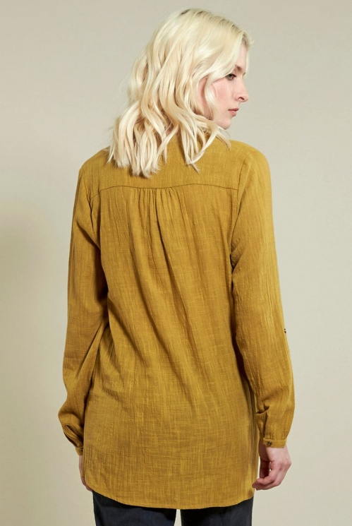 Zigzag Pin Tuck Shirt in Caramel - back view