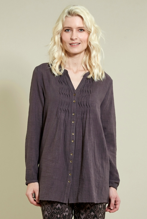 Fawn Zigzag Pin Tuck Shirt