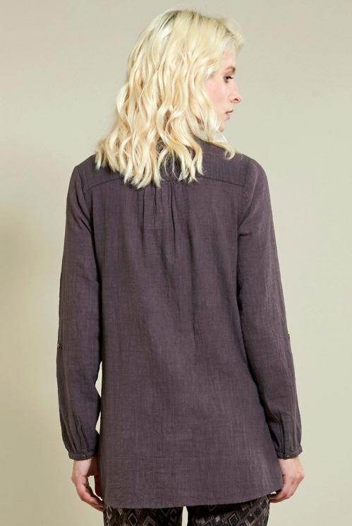 Zigzag Pin Tuck Shirt in Fawn - back view