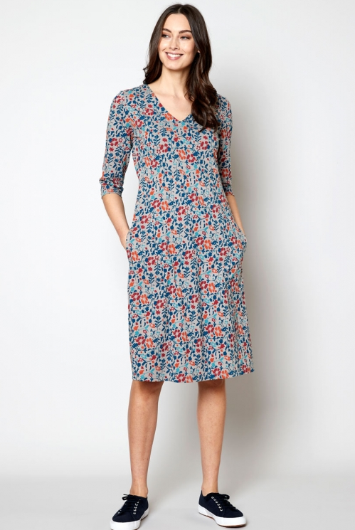 Ethically Made Parchment Fit and Flare Dress