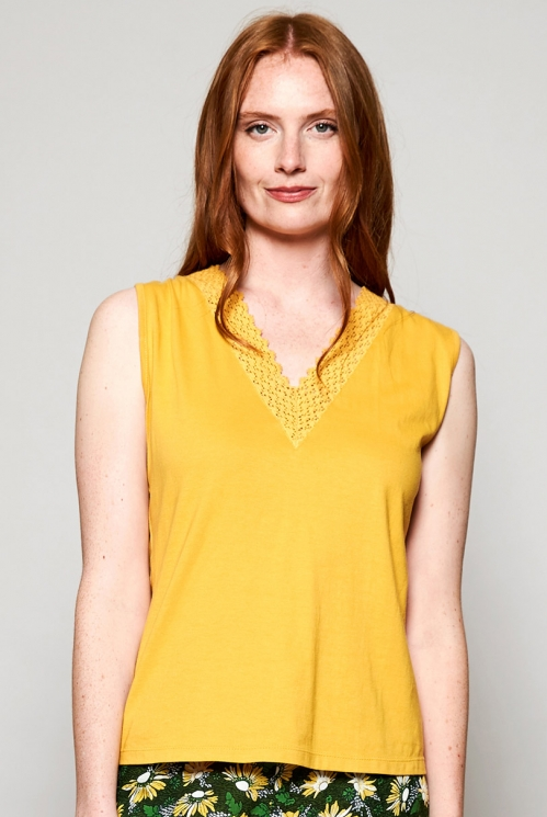 Dandelion Yellow Fair Trade Organic Cotton Crochet Detail Vest
