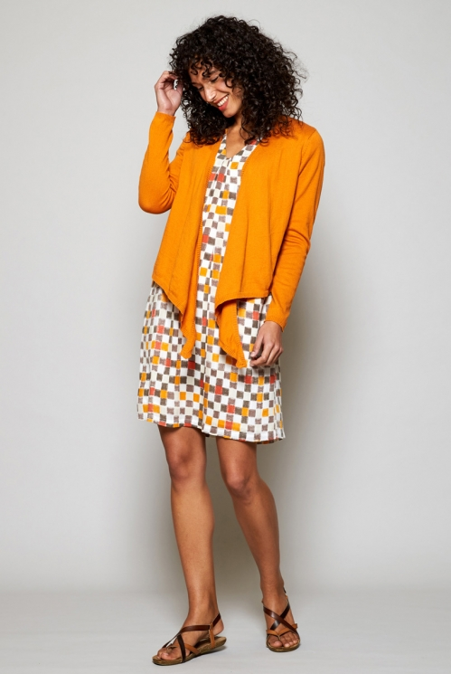 Apricot Orange Fair Trade Organic Cotton Multi-Way Wrap Cardigan