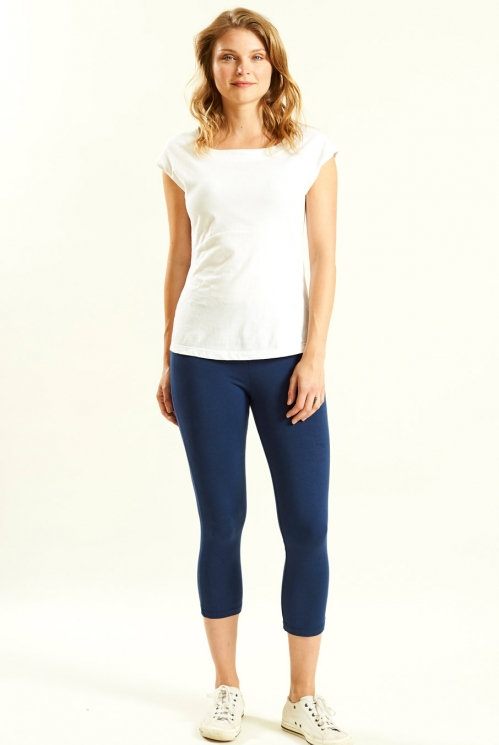 Crop Legging in Organic Cotton Jersey with Elastane xtra view of Navy
