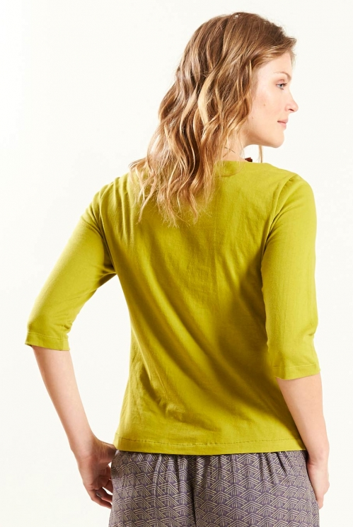 1/2 Sleeve Top in Avocado - back view
