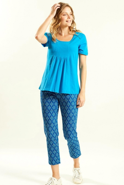 Pleat T Shirt in Organic Cotton Jersey xtra view of Aegean Blue 2