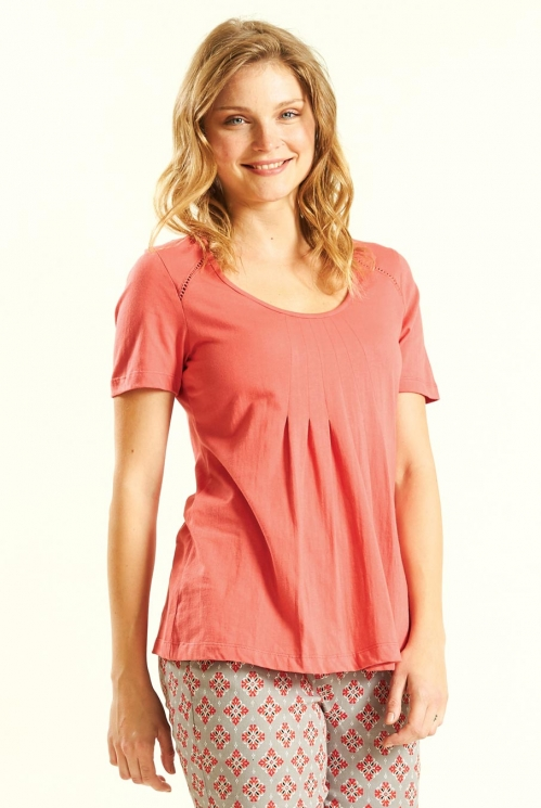 Guava Pleat T Shirt