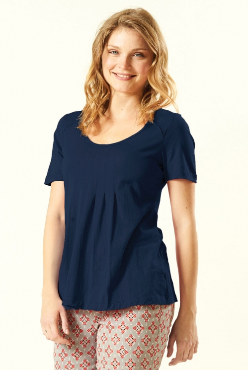 Navy Pleat T Shirt