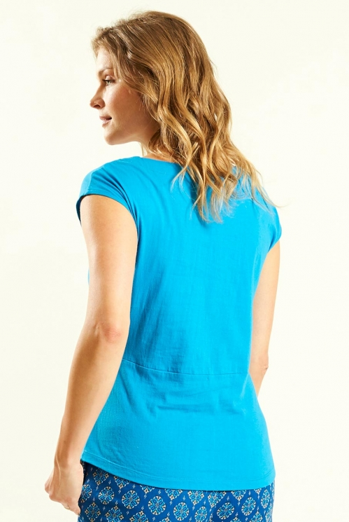 Vest With Seam in Aegean Blue - back view