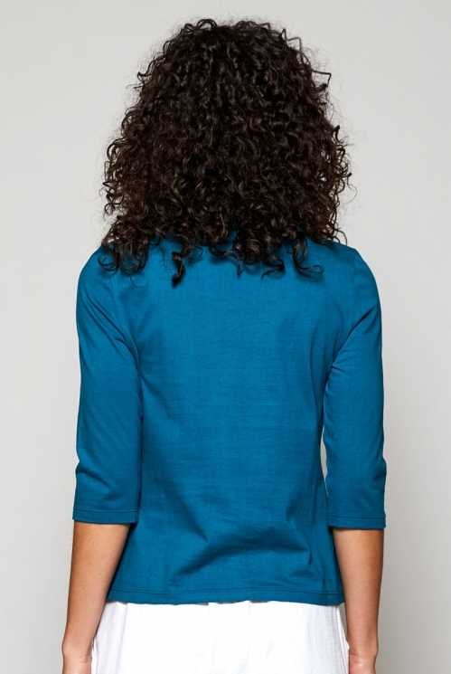 Teal Blue Fair Trade Botanical Print Organic Cotton ¾ Sleeve Top