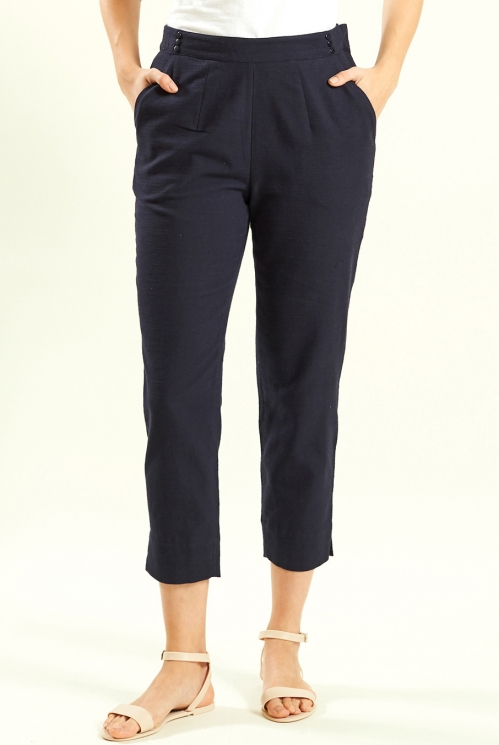 Navy Slim Crop Trouser