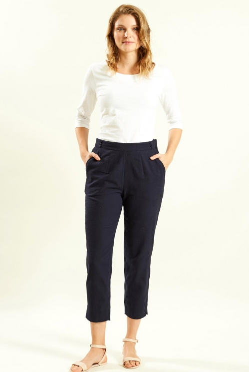 Slim Crop Trouser in Woven Cotton Slub xtra view of Navy