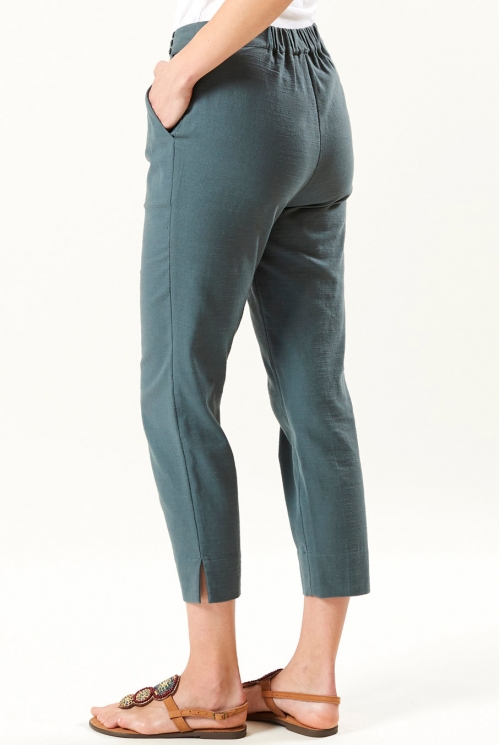 Slim Crop Trouser in Verdigris - back view