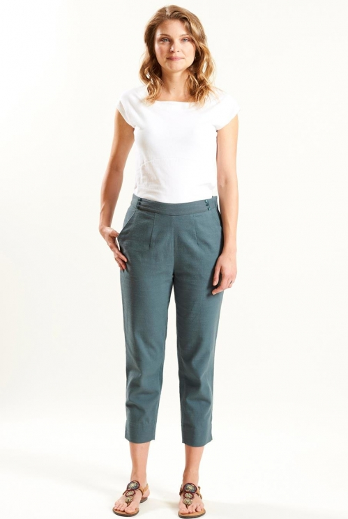 Slim Crop Trouser in Woven Cotton Slub xtra view of Verdigris