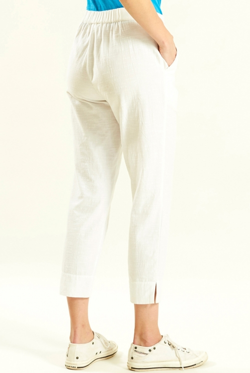 Slim Crop Trouser in White - back view