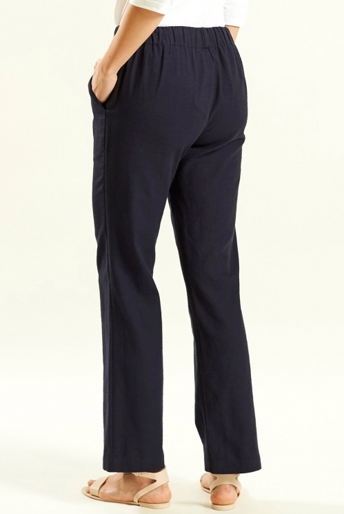 Straight Trouser in Navy - back view