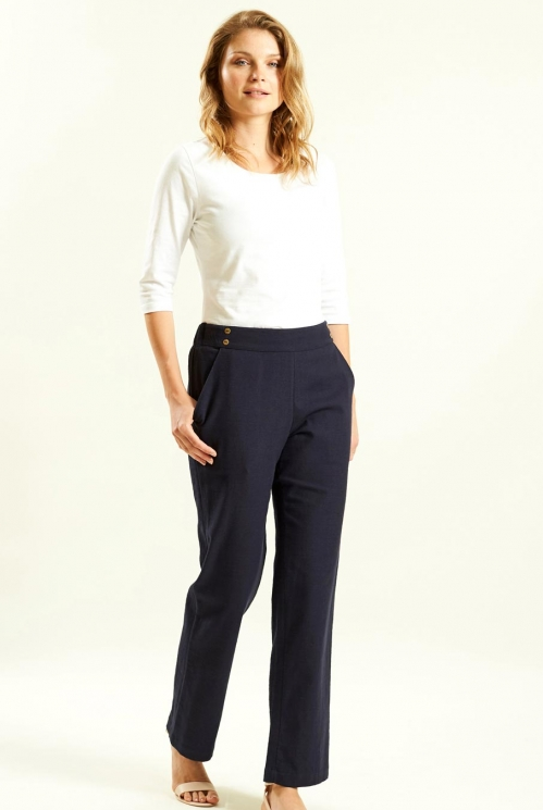 Straight Trouser in Woven Cotton Slub xtra view of Navy