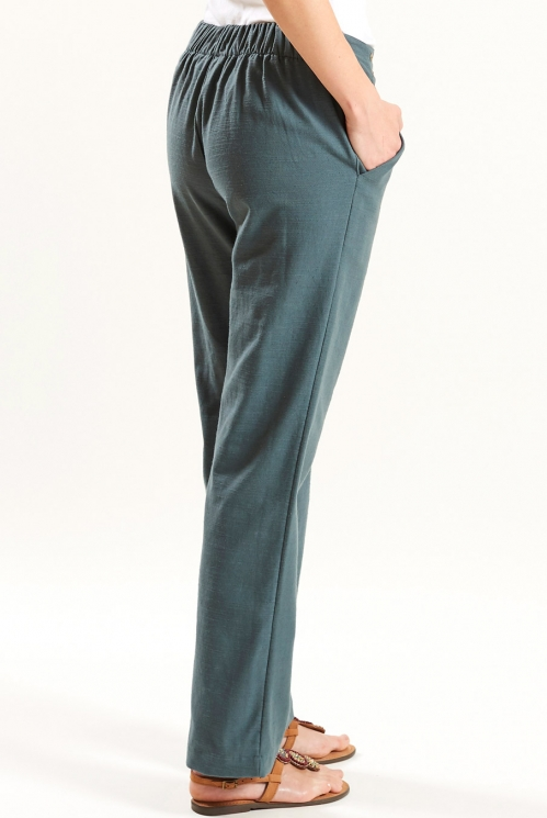 Straight Trouser in Verdigris - back view