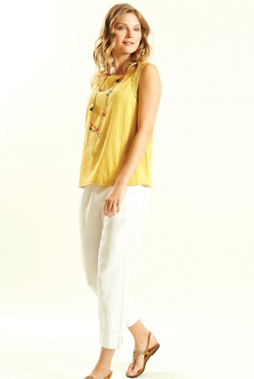Crochet Trim Vest in Woven Cotton Slub xtra view of Honey
