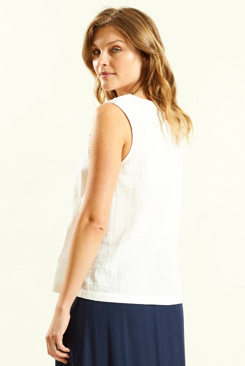 Crochet Trim Vest in White - back view