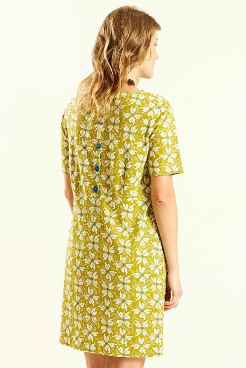 Avocado Button Back Tunic Dress