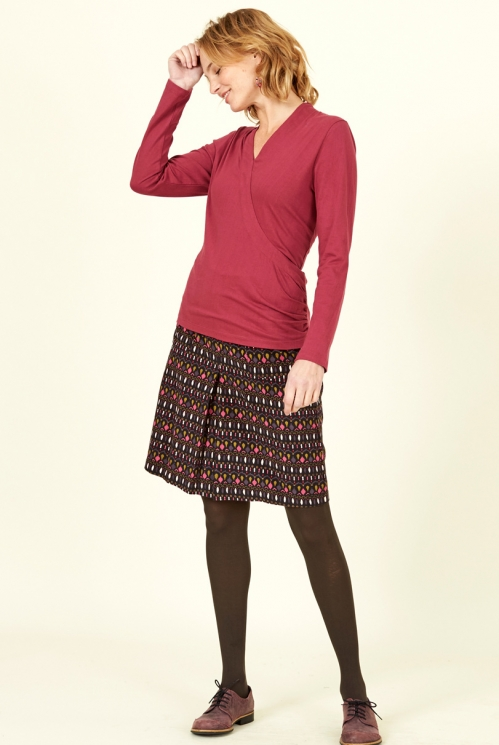 Damask Red Sustainable Organic Cotton Crossover Top