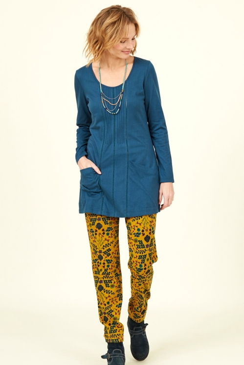 Biscay Blue Sustainable Organic Cotton Pintuck Pocket Tunic