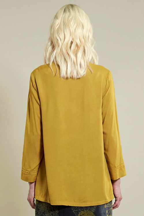 Pin Tuck Top in Caramel - back view