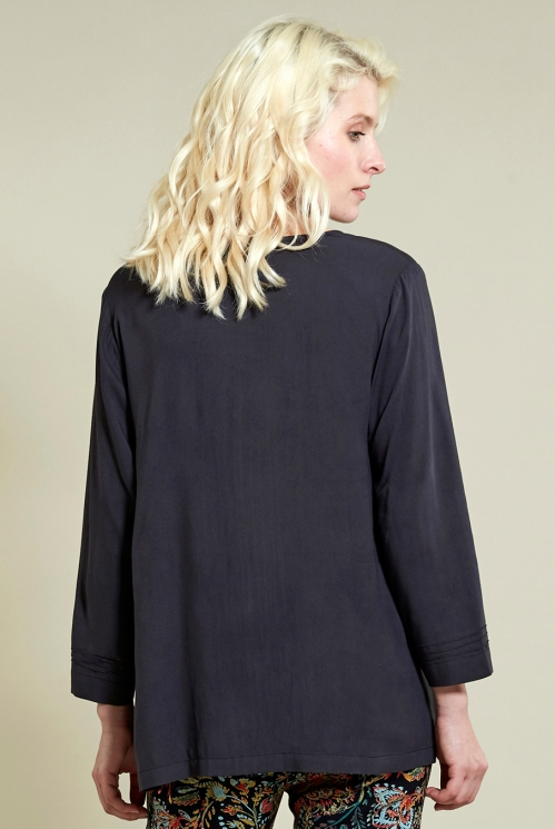Pin Tuck Top in Coal - back view