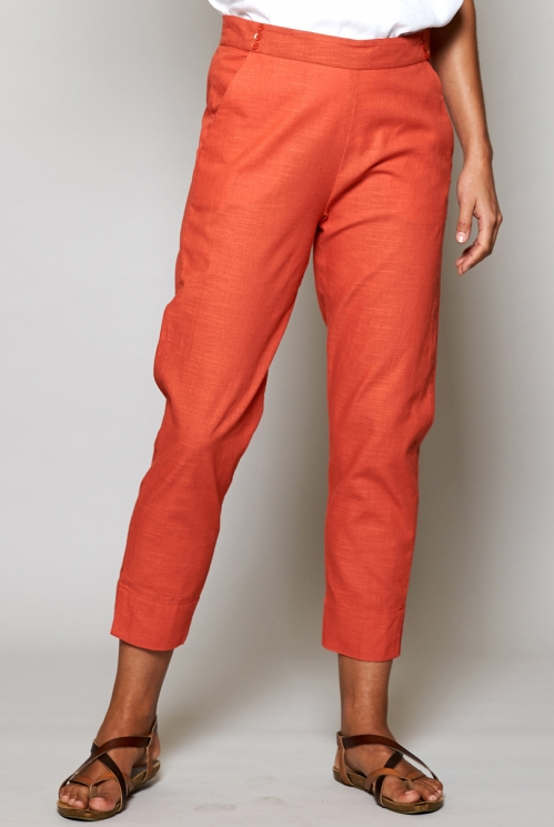 Papaya Orange Ethically Made Slim Cropped Cotton Trousers