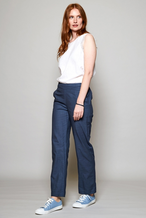 Storm Blue Fair Trade Straight Leg Cotton Trousers