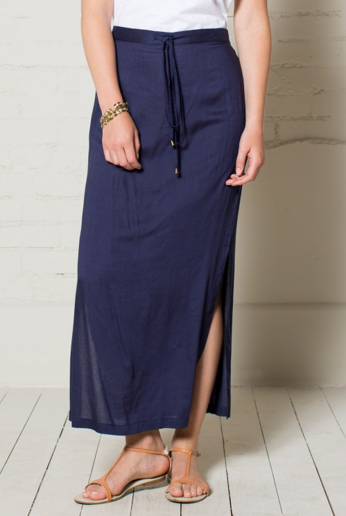 Navy Plain Maxi Skirt