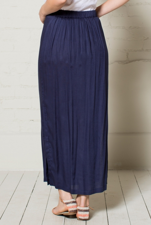 Navy Plain Maxi Skirt (back)