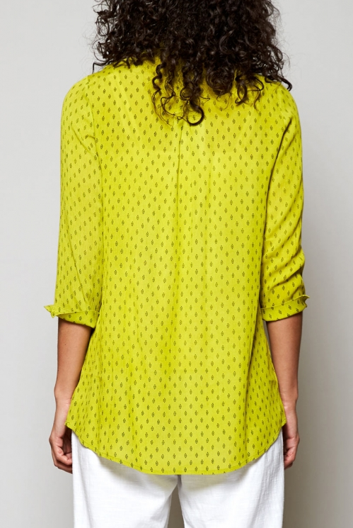 Citrus Green Sustainable Rice Print Shawl Collar Tunic