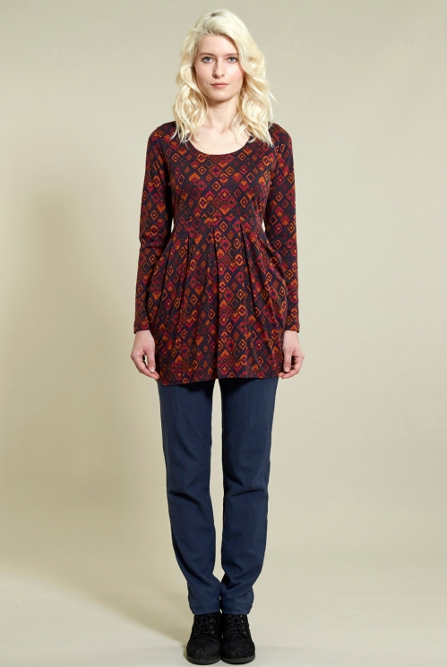 Prism Tunic Top in Organic Cotton Jersey xtra view of Navy
