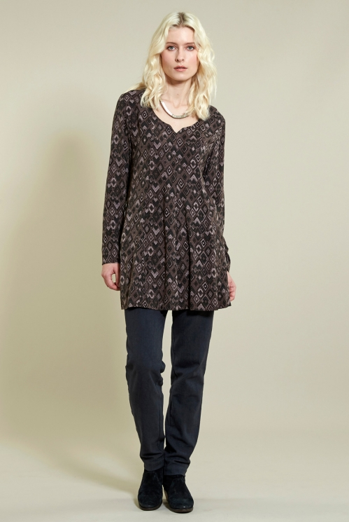 Fit And Flare Tunic in Woven Viscose xtra view of Fawn