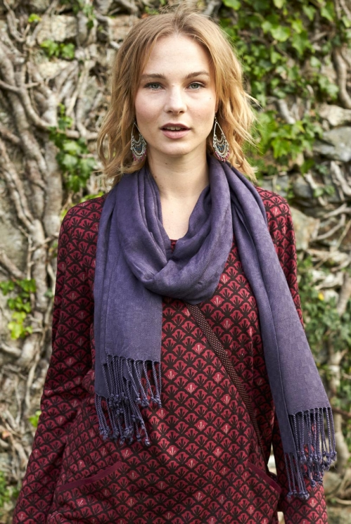 Twilight Purple Ethically Made Plain Tassled Scarf