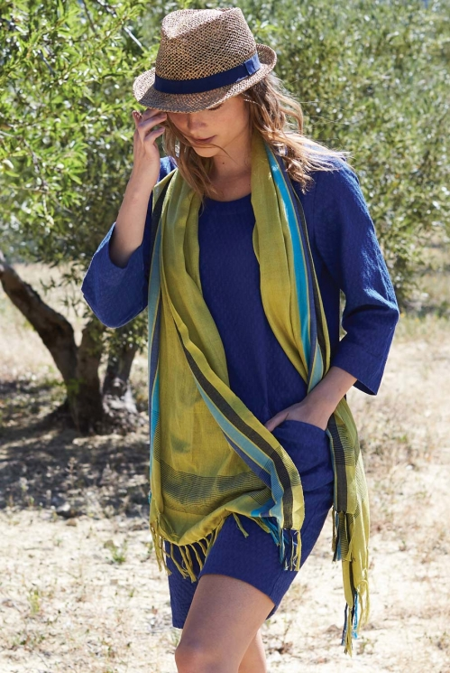 Bold Stripe Scarf in Woven Viscose location view of Avocado
