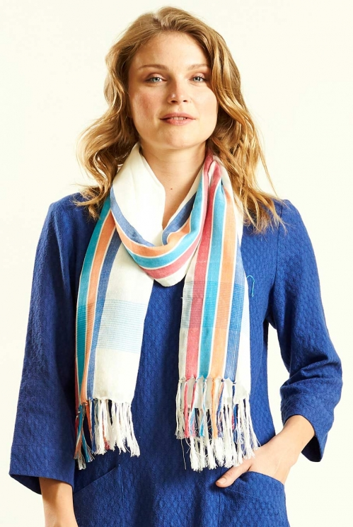 Bold Stripe Scarf in Woven Viscose - image shows Lagoon
