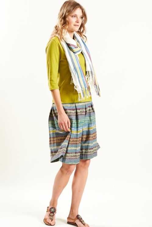 Bold Stripe Scarf in Woven Viscose xtra view of Lagoon