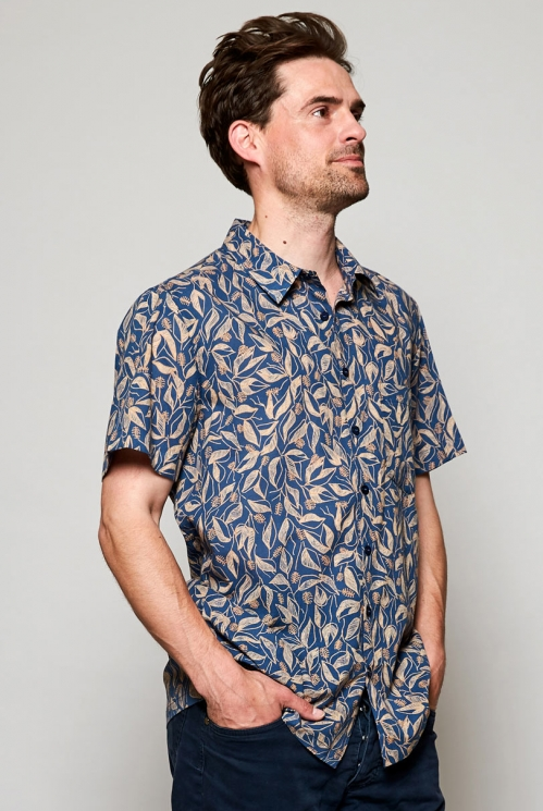 Ethically Made Storm Blue Sundowner Short Sleeve Printed Cotton Shirt