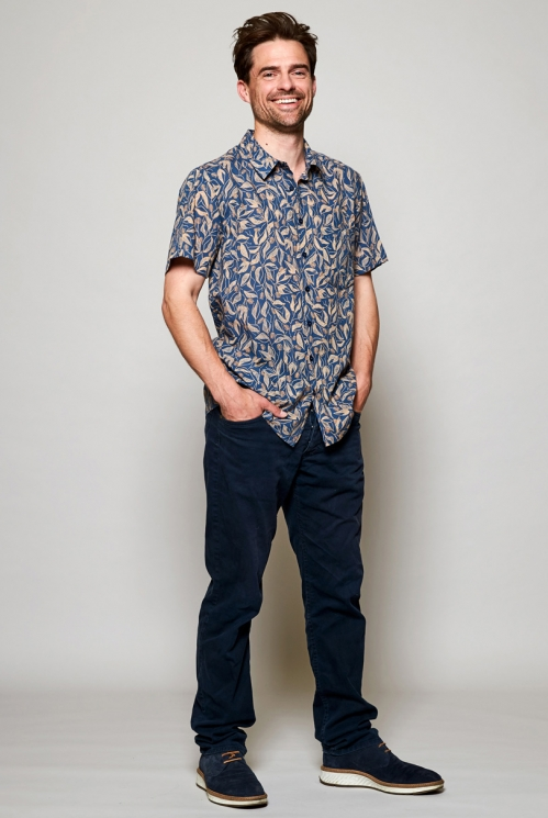 Storm Blue Ethically Made Sundowner Short Sleeve Printed Cotton Shirt