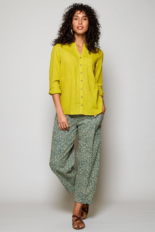 Citrus Green Sustainable Plain Pintuck Cotton Shirt