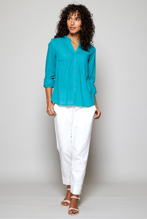 Sea Blue Fair Trade Plain Pintuck Cotton Shirt