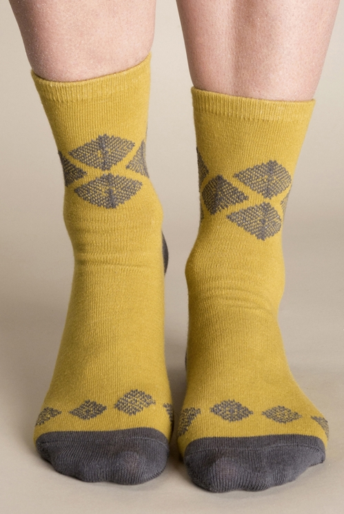 Gold Aztec Knit Socks