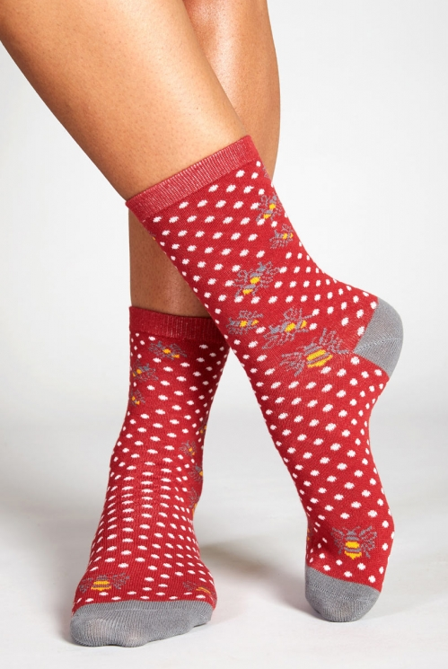 Cerise Red Fair Trade British Wildlife Organic Cotton Bumble Bee Socks